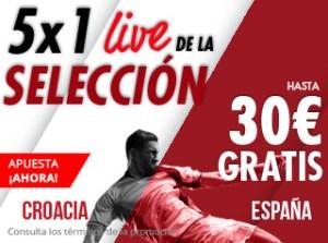 5 por 1 live de la seleccion Croacia-España hasta 30€ gratis con Suertia