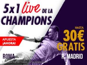 5 por 1 live Champions Roma-Madrid en Suertia