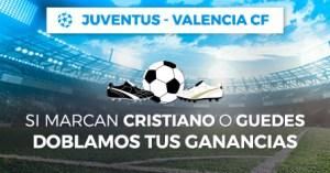 Juventus-Valencia si marca Ronaldo o Guedes doblamos tus ganancias en Paston