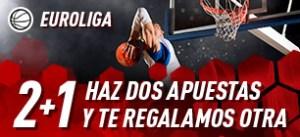 Euroliga basquet 2+1 haz dos apuestas y te regalamos otra en Sportium