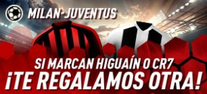 Milan-Juventus si marca Higuain o Cr7 ¡te regalamos otra!en Sportium