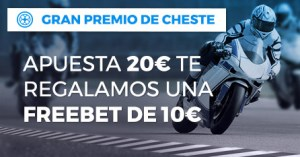 Gran premio de Cheste apuesta 20€ y te regalamos una freebet de 10€ en Paston