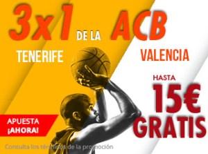 3 por 1 de la Acb hasta 15€ gratis