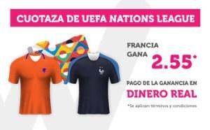 Cuota 2.55 gana Francia en Uefa nations en Wanabet