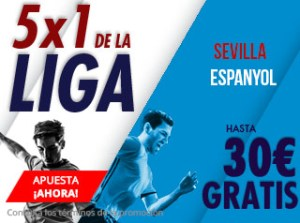 5 por 1 de la liga Sevilla-Espanyol hasta 30€ gratis con Suertia