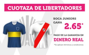 Cuotaza Libertadores B.Juniors gana 2.65 en Wanabet
