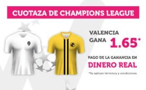 Cuotaza de Champions Valencia gana 1.65