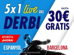 5 por 1 live del derbi catalan,gana hasta 30€ gratis en Suertia