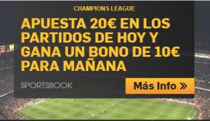 Apuesta 20€ hoy en Champions y recibe un bono de 10€ mañana en Betfair