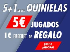 5+1 quinielas,5€ jugados 1€ freebet de regalo en Suertia