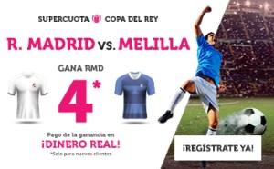 Megacuota 4 gana R.Madrid a Melilla en Copa en Wanabet