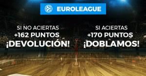 Baloncesto Euroliga doblamos tus ganancias o devolucion en Paston