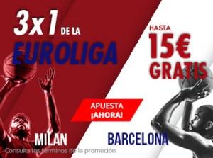 3 por 1 de la Euroliga hasta 15€ gratis con Suertia