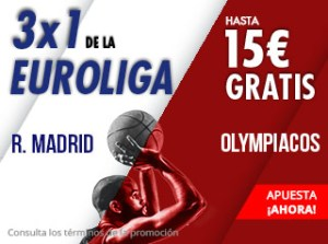 3 por 1 Euroliga R.Madrid-Olympiacos hasta 15€ extras con Suertia