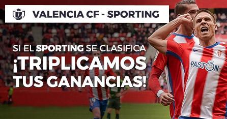 Valencia-Sporting,si el Sporting se clasifica triplicamos tus ganancias en Paston