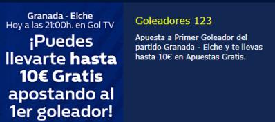 Granada-Elche hasta 10€ gratis apostando a primer goleador en William Hill