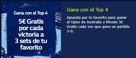 Tenis,gana 5€ por cada victoria a tres sets de tu favorito en William Hill