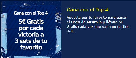 Tenis,gana 5€ por cada victoria a tres sets de tu favorito en William Hill