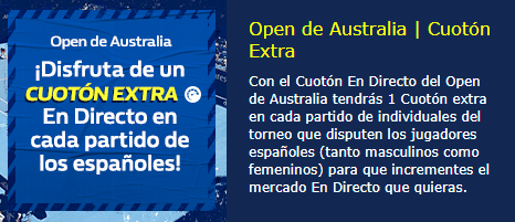 Open de Australia cuoton extra con William Hill