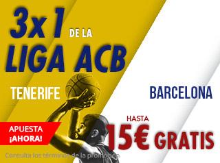 3x1 Liga ACB Tenerife-Barcelona hasta 15€ gratis con Suertia