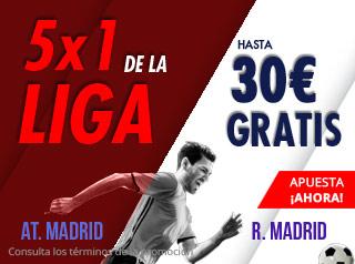 5x1 de la liga At-R.Madrid hasta 30€ gratis con Suertia