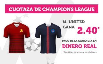 Cuotaza Champions 2.40 gana Manchester U. en Wanabet
