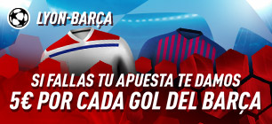 Lyon-Barcelona si fallas tu apuesta te damos 5€ por cada gol del Barcelona en Sportium