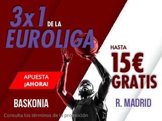 3x1 Euroliga Baskonia-Madrid hasta 15€ gratis en Suertia