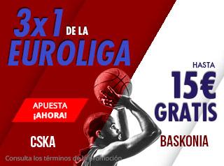3x1 de la Euroliga CSKA-Baskonia hasta 15€ gratis en Suertia