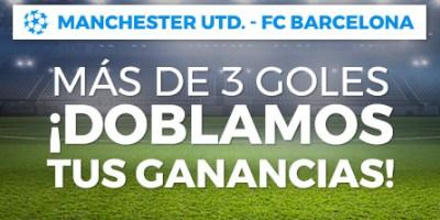 Manchester-Barcelona mas de 3 goles doblamos tus ganancias en Paston