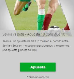 Realice una apuesta de 10 € (o más) en el partido entre Sevilla y Betis en mercados seleccionados, y le daremos una apuesta gratuita de 10 € en Betway