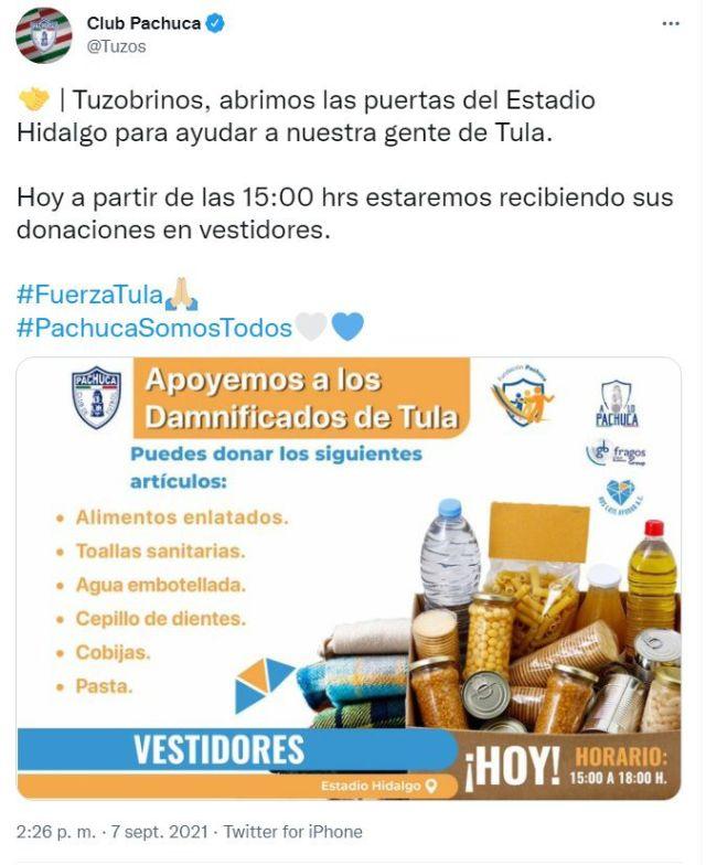 El horario de atención será de las15:00 a las 18:00 horas. Fundación Pachuca también estará encargada de sumar productos, en donde habitantes de Tula han perdido casas, muebles, autos o bienes materiales.
