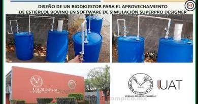 Estudiante de la UAT diseña sistema para generar biogás