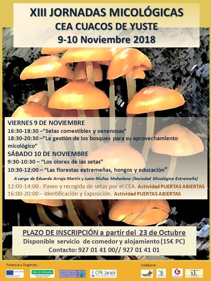 El Centro de Educación Ambiental de Cuacos de Yuste acogerá los días 9 y 10 de noviembre las XIII Jornadas Micológicas