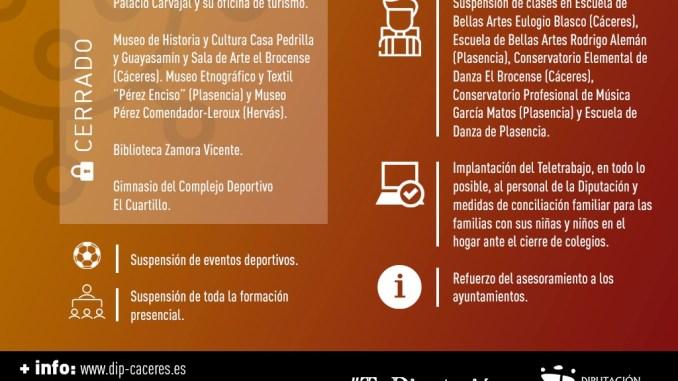 Diputación cierra espacios de ocio y cultura y suspende clases lectivas