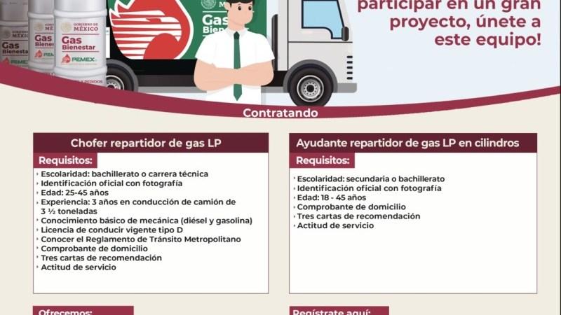 Gas Bienestar abre convocatoria de trabajo para choferes y repartidores