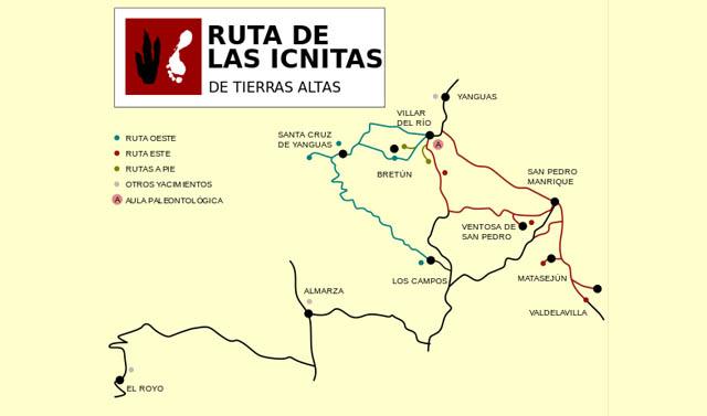 mapa de la ruta de las ignitas, con comienzo en San Pedro Manrique, Soria