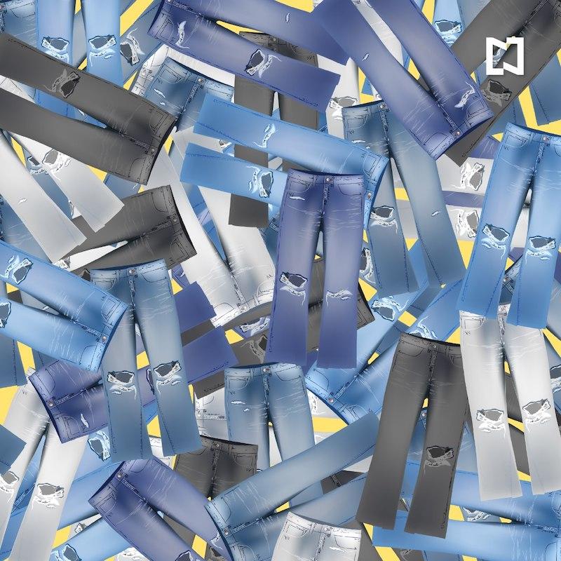 Reto visual busca los pantalones no rotos, ilustración