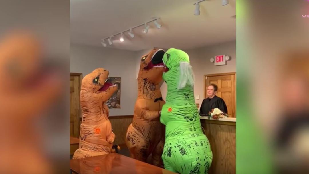 tiranosaurios, boda, registro civil, Halloween, captura de pantalla