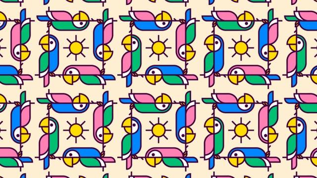Reto visual: encuentra las dos guacamayas sin cola, ilustración
