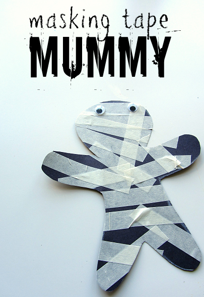 Masking Tape Mummy, by No Time for Flash Cards