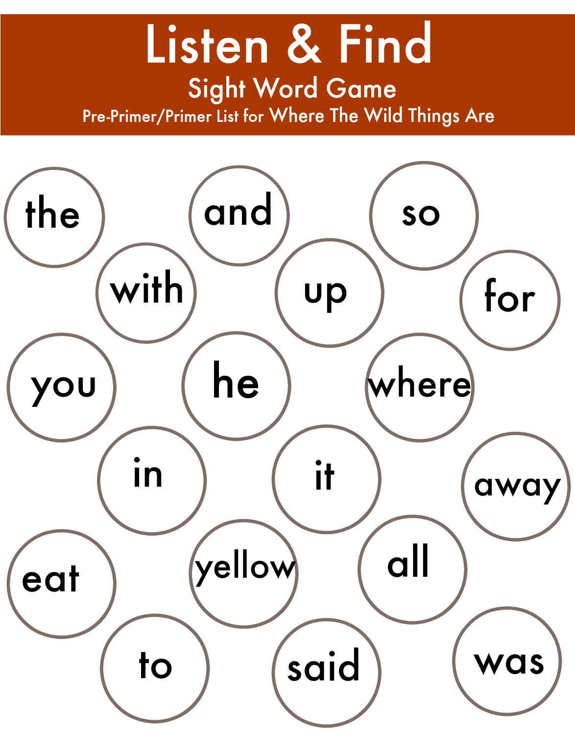 Where The Wild Things Are Preprimer And Primer Sight Words Game Board