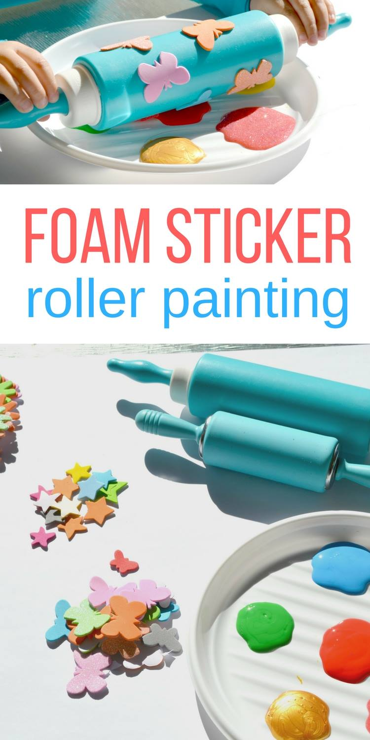 Foam Sticker Roller Painting For Toddlers No Time For