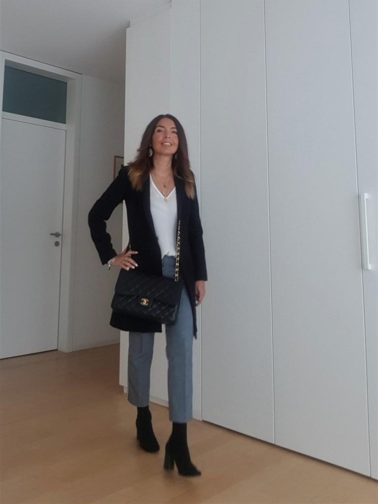 Outfit da ufficio: pantaloni a strisce