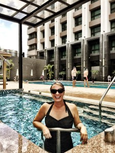 Enjoying the hotel's pool and spa in Taiwan before the super typhoon