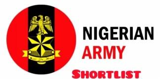 Nigeria Army Shortlist