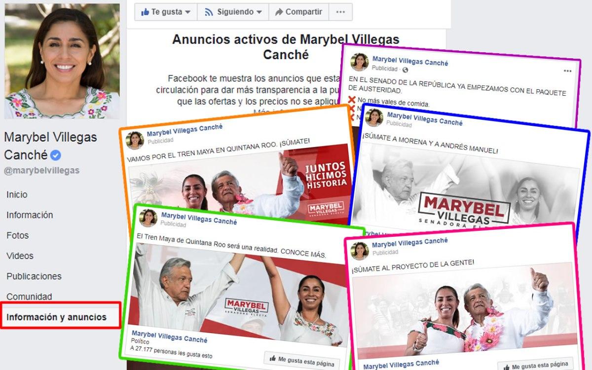 Exhiben a Marybel Villegas con onerosa campaña de autopromoción, además colgada de la imagen de AMLO