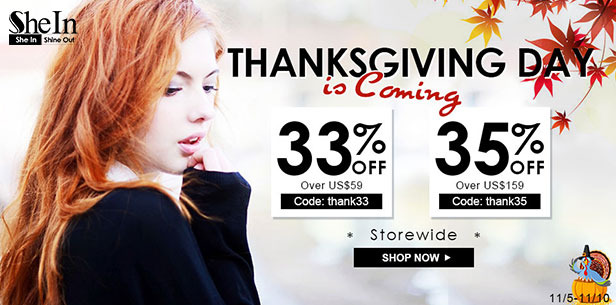 Discounts Thanksgiving from Shein!