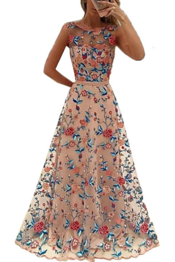 Round Neck Belt Embroidery Hollow Out Party Dresses