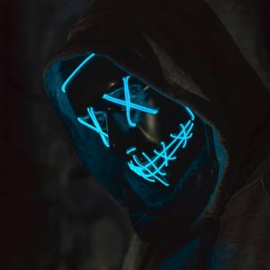 Děsivá svítící maska - modrá